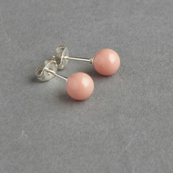Coral Pink Studs - Salmon Peach Pearl Post Earrings - Nude Stud Earrings