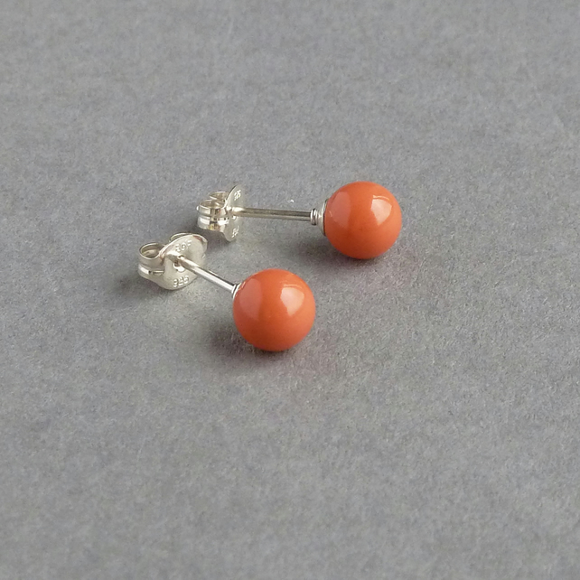 Orange Coral Studs - Salmon Peach Pearl Post Earrings - Bridesmaids Jewellery