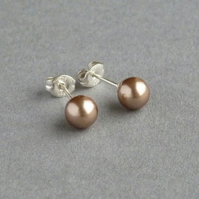 Bronze Pearl Stud Earrings - Soft Gold Swarovski Pearl Post Earrings - Studs