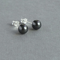 Dark Grey Stud Earrings - Black Swarovski Pearl Studs - Bridesmaids Jewellery
