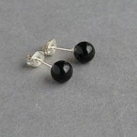 Jet Black Stud Earrings - Onyx Swarovski Pearl Post Earrings - Black Studs