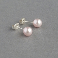 Blush Pink Studs - Soft Pink Swarovski Pearl Stud Earrings - Pale Pink