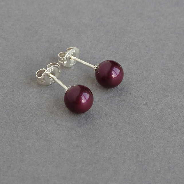 Plum Stud Earrings - Blackberry Swarovski Pearl Studs - Bridesmaids Jewellery