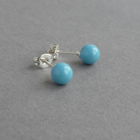 Turquoise Pearl Stud Earrings - Sea Blue Jewellery - Swarovski Pearl Studs
