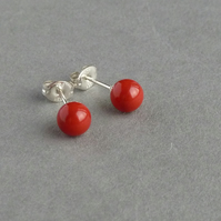 Coral Red Stud Earrings - Poppy Red Swarovski Pearl Post Earrings - Tomato