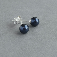 Navy Blue Stud Earrings - Dark Blue Swarovski Pearl Studs - Bridesmaid Jewellery