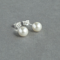 Ivory Pearl Studs - White Swarovski Pearl Stud Earrings - Bridal Jewellery