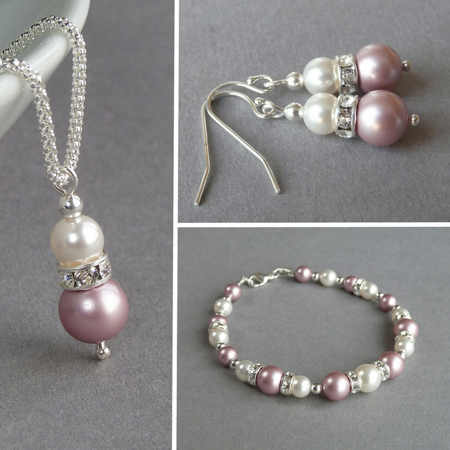 Dusky Pink Jewellery Set - Rose Pink Pearl Necklace, Bracelet and Drop Earrings