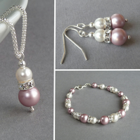 Blush Pink Jewellery Set - Rose Pink Pearl Necklace, Bracelet and Drop Earrings