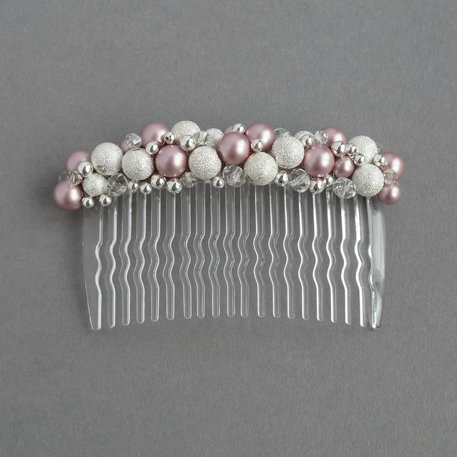 Dusky Pink Stardust Hair Comb - Powder Rose Bridesmaid Head Piece - Accessories
