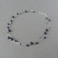Navy Floating Pearl Necklace - Dark Blue Bridesmaid Jewellery - Three Strand