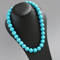 Chunky Turquoise Necklace - Sea Blue Stone Jewellery - Neon Blue Necklaces