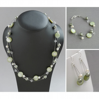 Sage Green Jewellery Set - Olive Floating Pearl Necklace- Bracelet and Earrings
