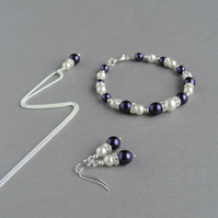 Royal Purple Pearl and Crystal Jewellery Set - Necklace, Bracelet anmd Earrings