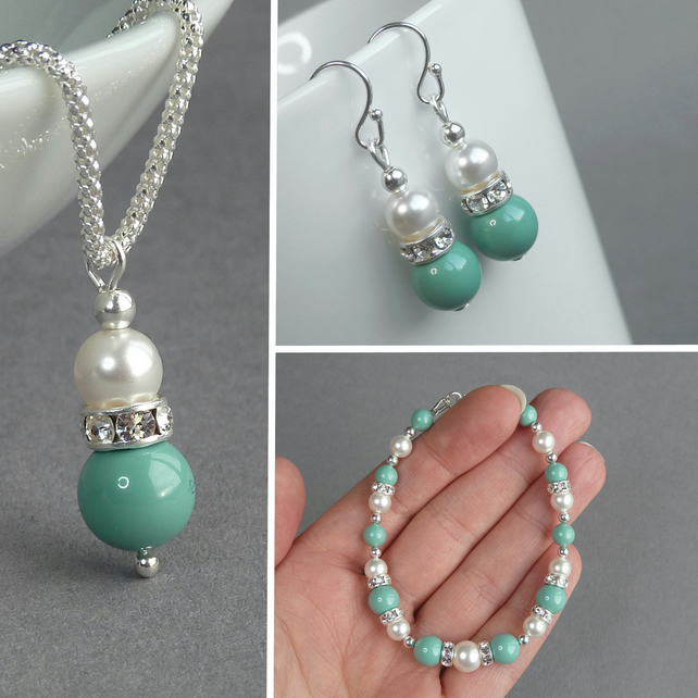 Aqua Pearl and Crystal Jewellery Set - Mint Necklace, Bracelet and Drop Earrings