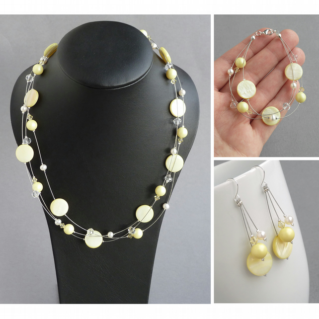 Pale Yellow Jewellery Set - Lemon Floating Pearl Bridesmaid Jewellery - Gifts