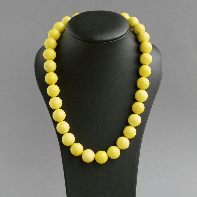 Chunky Bright Yellow Necklace - Neon Yellow Jewellery - Lemon Chalk Turquoise