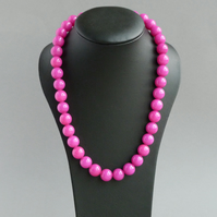 Chunky Hot Pink Necklace - Fuchsia Stone Bead Jewellery - Neon Pink Beads