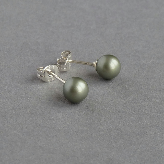 Sage Green Swarovski Pearl Studs - Olive Green Post Earrings - Bridesmaids Gifts