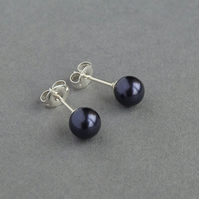 Dark Purple Studs - Dusky Purple Swarovski Pearl Post Earrings - Gifts for Women
