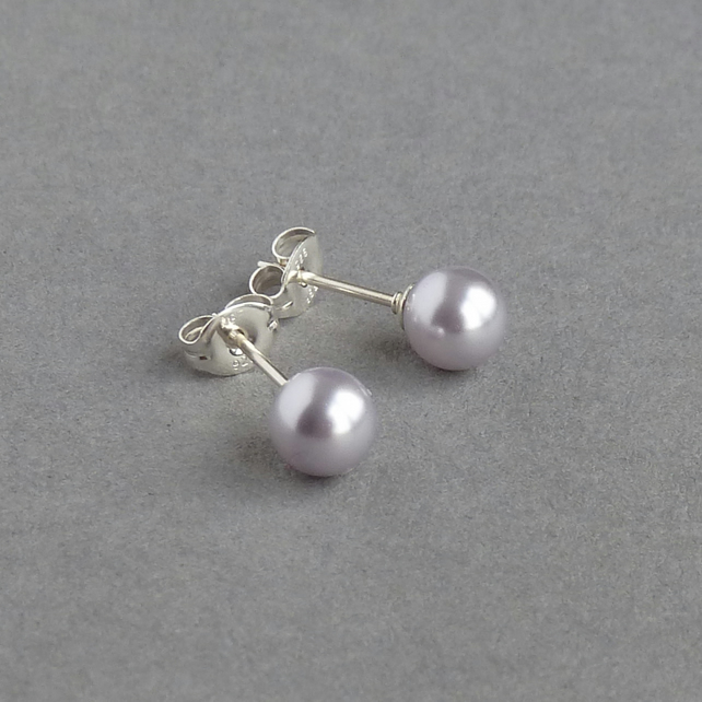 Lavender Stud Earrings - Lilac Swarovski Pearl Post Earrings - Gifts for Women