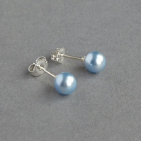 Light Blue Studs - Powder Blue Swarovski Pearl Post Earrings - Gifts for Women