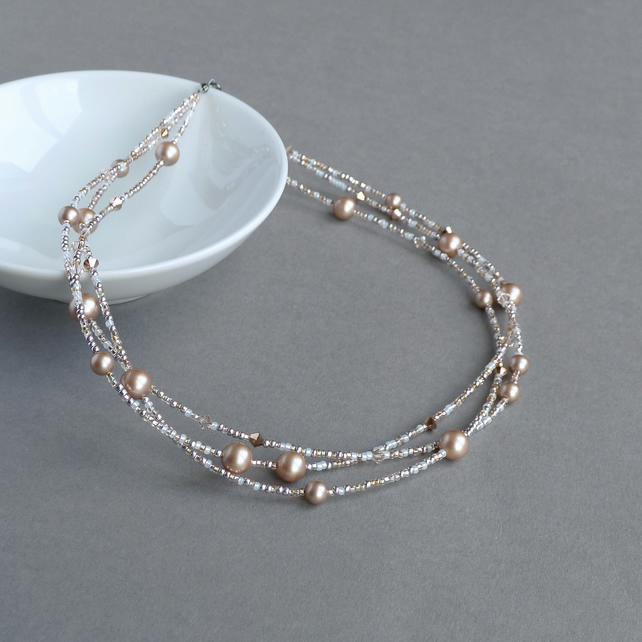 Rose Gold Multi-strand Twisted Necklace - Mother of the Bride Pearl Jewellery
