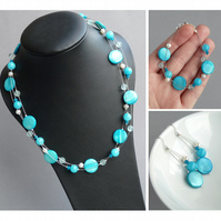 Sea Blue Jewellery Set - Turquoise Three Strand Necklace, Bracelet and Earrings
