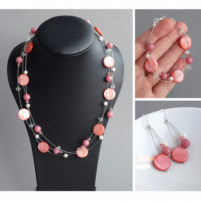 Coral Pink Jewellery Set - Salmon Floating Pearl Necklace, Bracelet and Earrings