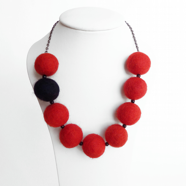 Red and Black Felt Necklace - Chunky Bead Felted Necklace - Fairtrade Jewellery