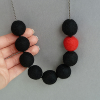 Chunky Black and Red Felt Ball Necklace - Fun Colour Block Statement Jewellery