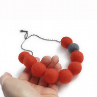 Deep Orange and Grey Chunky Felt Bead Necklace - Warm Red Felted Ball Jewellery