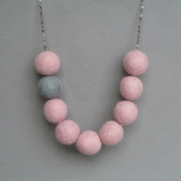 Pale Pink and Grey Felt Necklace - Fairtrade Chunky Felted Bead Pink Necklace