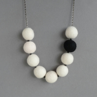 Ivory Felt Necklace - Chunky Statement Necklace - Cream and Black Jewellery