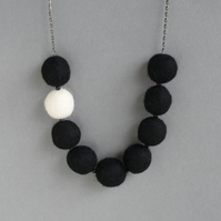 Chunky Black Felt Beaded Necklace - Monochrome Colour Block Statement Jewellery