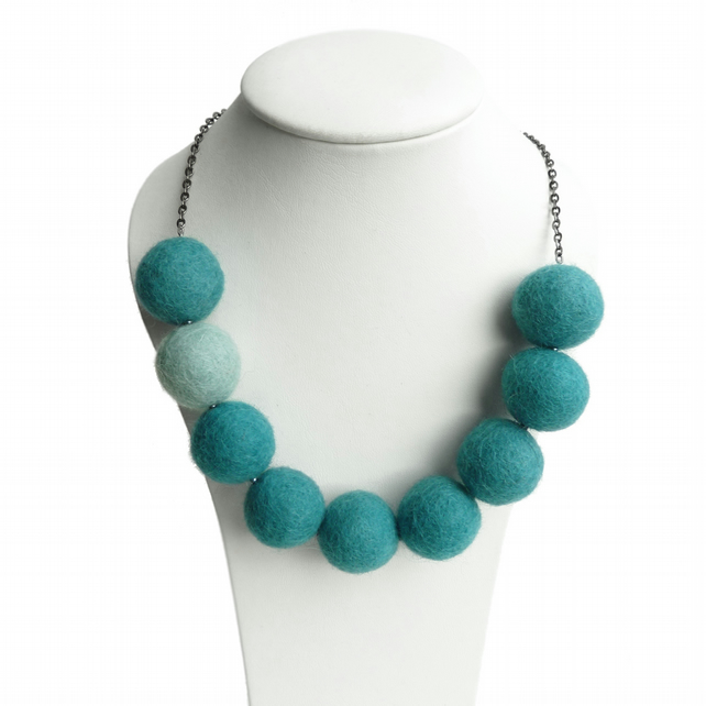 Teal Felted Bead Necklace - Aqua Chunky Felt Ball Necklace - Turquoise Jewellery