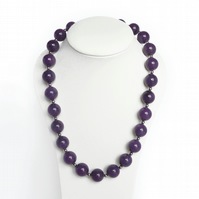 Chunky Purple Necklace - Amethyst Beaded Necklace - Stone Bead Jewellery