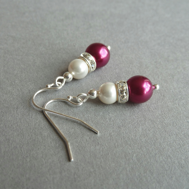 Raspberry Pink Pearl and Crystal Pearl Drop Earrings - Fuchsia Wedding Jewellery