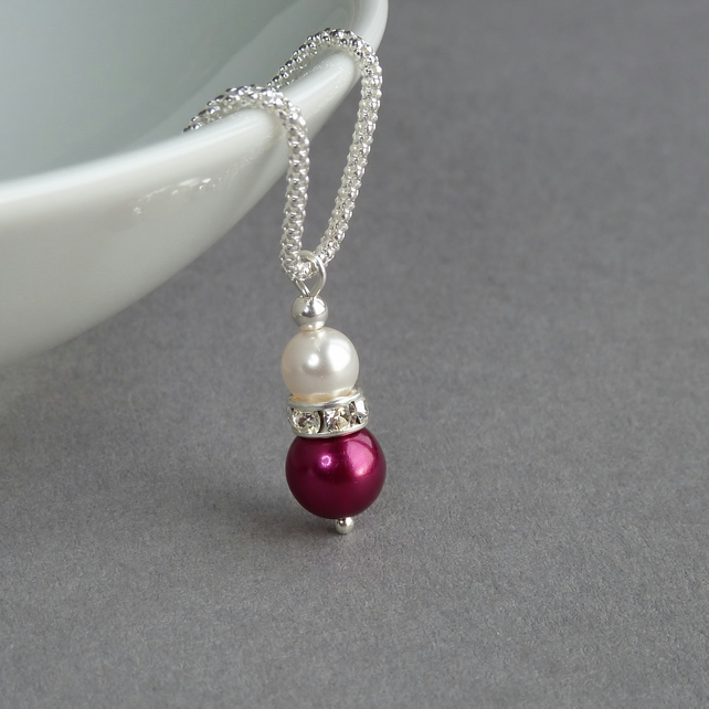 Raspberry Pearl and Crystal Necklace - Fuchsia Pink Drop Pendant for Bridesmaids