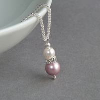 Dusky Pink Pearl and Crystal Necklace - Rose Drop Pendant - Wedding Jewellery