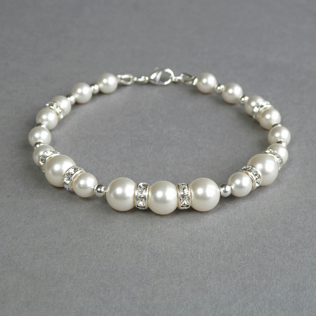 White Pearl and Crystal Bracelet - Ivory Bridal Jewellery - Bridesmaids Gifts