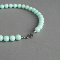 Mint Chunky Necklace - Aqua Stone Jewellery - Turquoise Chunky Bead Necklaces
