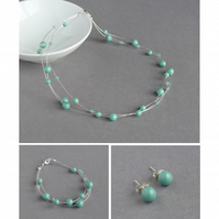 Aqua Floating Pearl Jewellery Set - Jade Necklace, Bracelet and Stud Earrings
