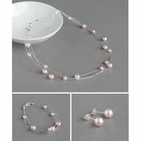 Blush Floating Pearl Jewellery Set - Light Pink Bridesmaids Jewellery - Gifts