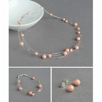 Coral Pink Jewellery Set - Floating Pearl Necklace, Bracelet and Stud Earrings