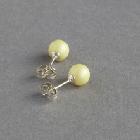 Lemon Stud Earrings - Pale Yellow Pearl Studs - Bridesmaid Jewellery - Gifts