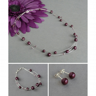 Plum Pearl Jewellery Set - Floating Pearl Necklace, Bracelet and Stud Earrings