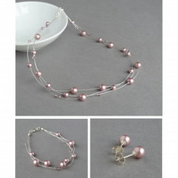 Dusky Pink Jewellery Set - Floating Pearl Necklace, Bracelet and Stud Earrings