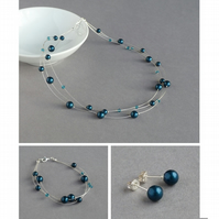 Teal Jewellery Set - Floating Pearl Necklace, Bracelet and Earrings - Aquamarine