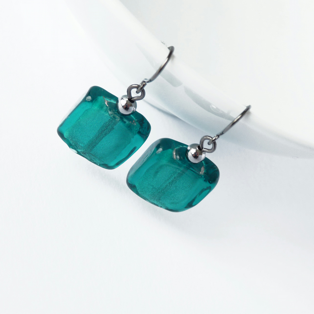 Teal Fused Glass Earrings - Square Drop Earrings - Blue Green Dangly Earrings